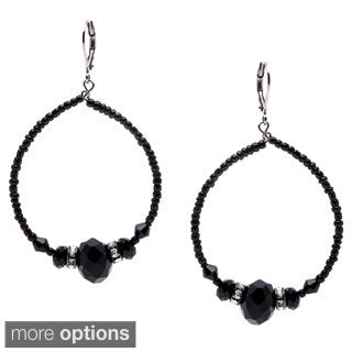 Alexa Starr Silvertone Black Glass Bead and Faux Pearl Hoop Earrings