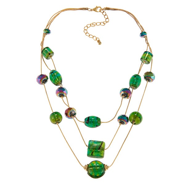 Alexa Starr Goldtone Green Faceted and Painted Glass 3-row Necklace