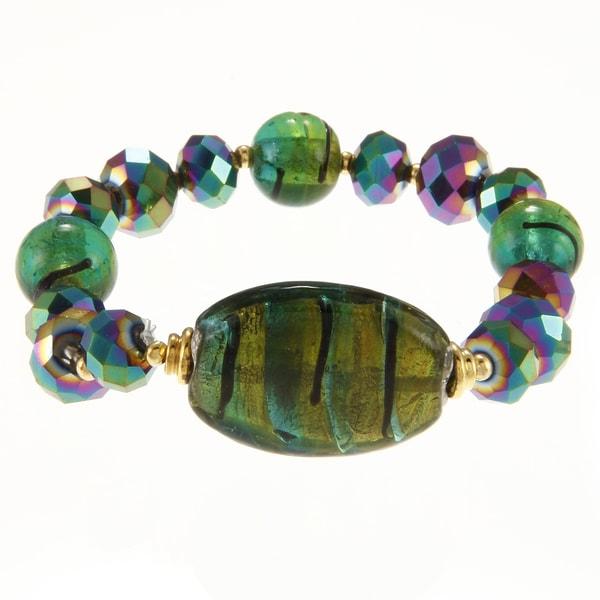 Alexa Starr Goldtone Green Glass Oval Center Stretch Bracelet