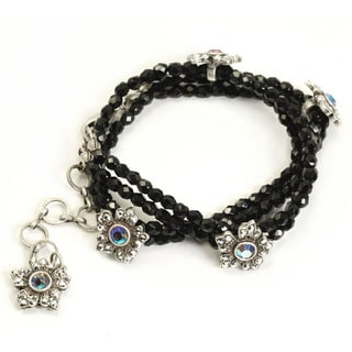 Sweet Romance Black Bead Crystal Flower Silver Wrap Bracelet