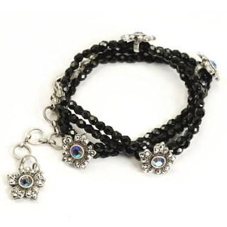 Sweet Romance Black Bead Crystal Flower Silver Wrap Bracelet