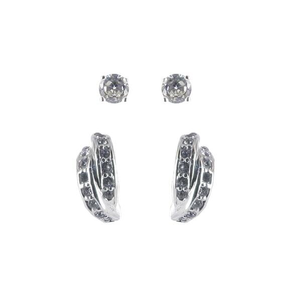 Sunstone Sterling Silver Cubic Zirconia Stud and Half-hoop Earring Duo Set
