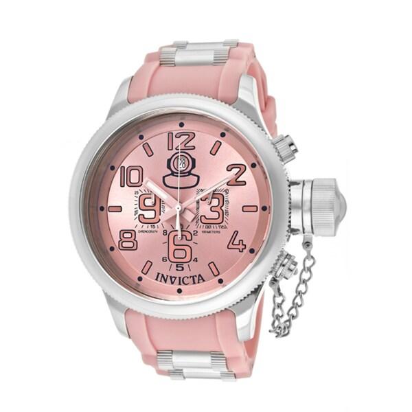 Invicta Men's 'Russian Diver' Pink Polyurethane Watch