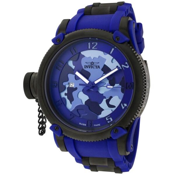 Invicta Men's 'Russian Diver/Siberian Tiger' Blue Rubber Watch