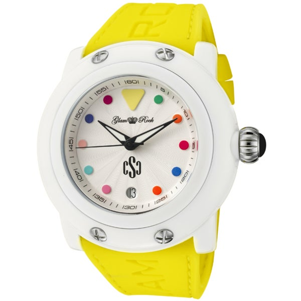 Glam Rock Women's ''Crazy Sexy Cool'' Yellow Silicone Watch