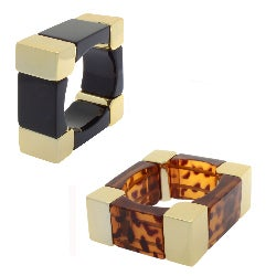 Nexte Jewelry Goldtone Square Colored Bangle Bracelet