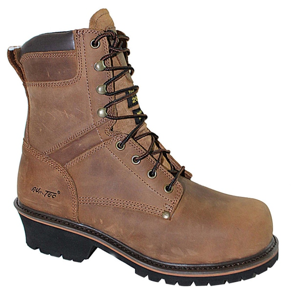 AdTec Men's 'Super Logger' 9-inch Brown Waterproof Steel-toed Boots