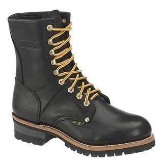 AdTec Women's 9-inch Black Leather Logger Boots