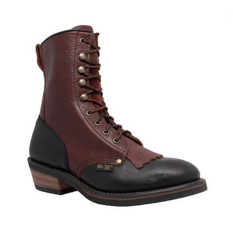 AdTec Womens 8-inch Black/ Dark Cherry Packer Boots