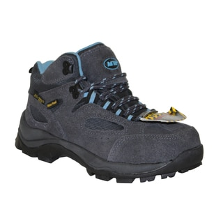 AdTec Women's Grey/Blue Steel-toed Work/ Hiker Boots