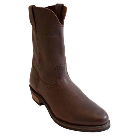 AdTec Mens 11-inch Redteak Leather Wellington Boots