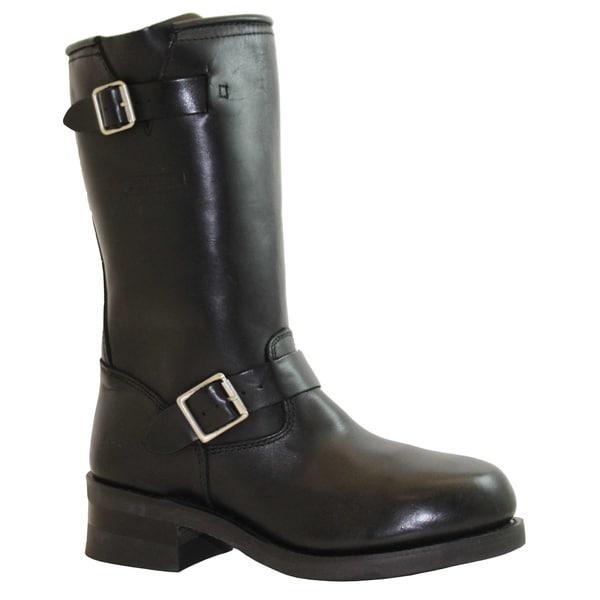 AdTec Men's Black Leather Engineer Boots