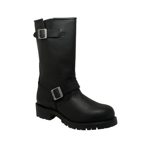 RideTecs Men's Black Leather Engineer Boots
