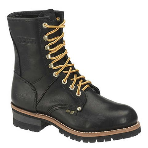 AdTec Men's Black Oiled Leather Logger Boots