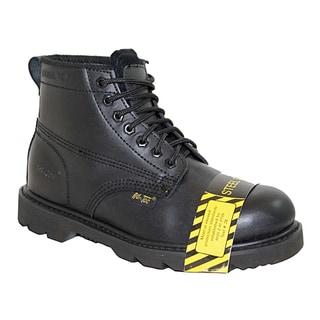AdTec Men's Black Leather Steel Toe Work Boots
