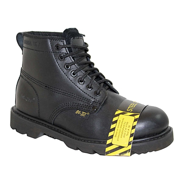 AdTec Men's Black Leather Steel Toe Work Boots