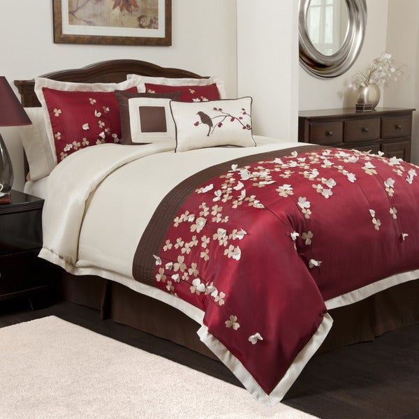 Lush Decor Flower Drops Red 6-piece Comforter Set