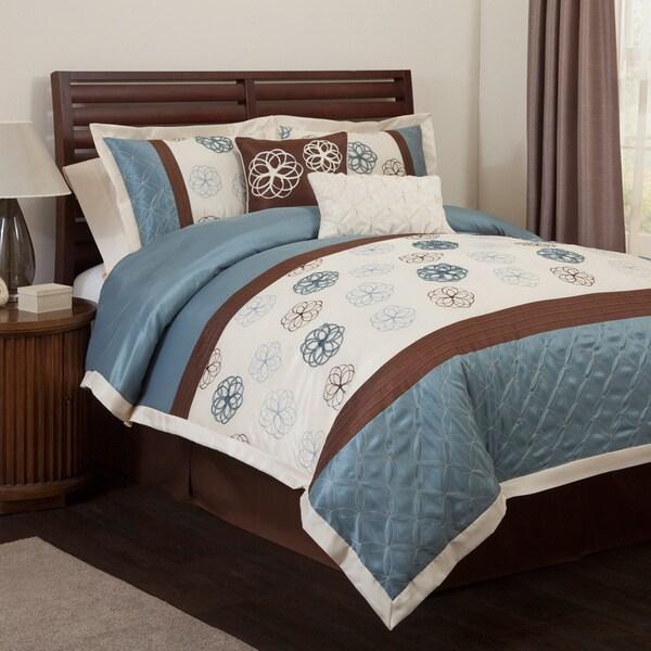 Lush Decor Covina Blue/Brown 6-piece Comforter Set