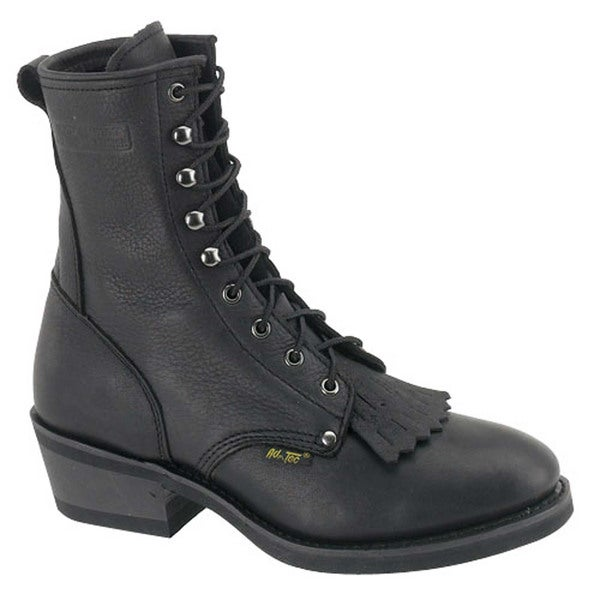 AdTec Men's Black Leather Packer Boots