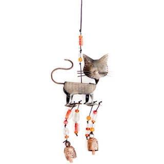 Handmade A Cat's Walk 3-D Wind Chime (India) - Rustic/Metal