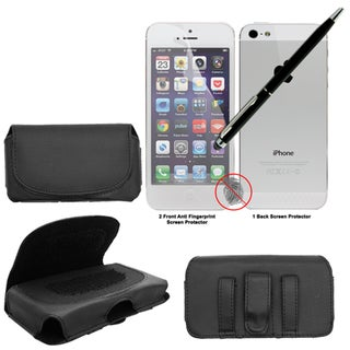 Apple iPhone 5 Leatherette Pouch with Anti-fingerprint Screen Protectors