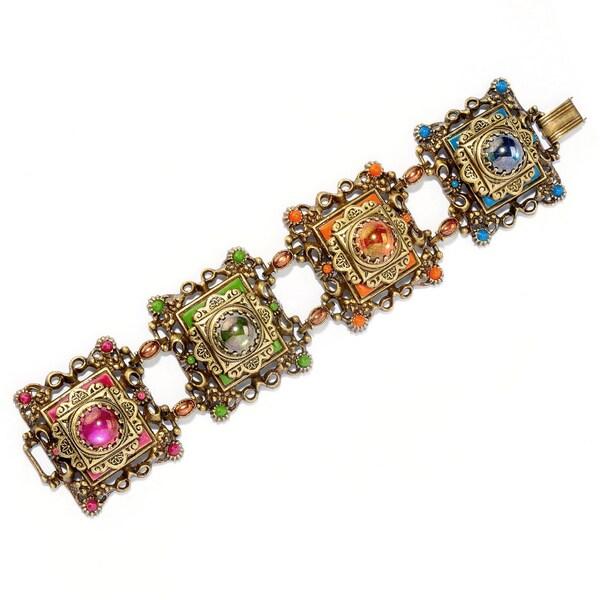 Sweet Romance Bronzetone Glass Stone 'Desert Colors' Link Bracelet