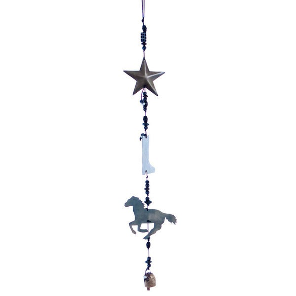 Handmade Southwest Star Wind Chime (India) - Brown