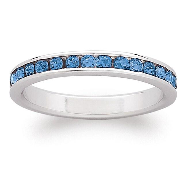 Sterling Silver Birthstone Crystal Eternity Ring (8 - Ale...