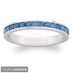 Sterling Silver Birthstone Crystal Eternity Ring|https://ak1.ostkcdn.com/images/products/7472159/Sterling-Silver-Birthstone-colored-Crystal-Eternity-Ring-P14919392.jpg?_ostk_perf_=percv&impolicy=medium