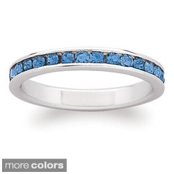 Sterling Silver Birthstone Crystal Eternity Ring (Option: Tanzanite)