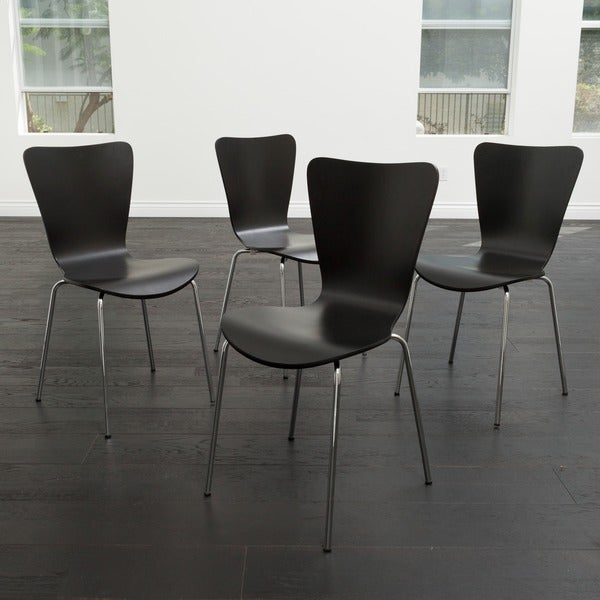Christopher Knight Home Winnipeg Black Wood Chairs Set Of 4 Free Shipping Today Overstock