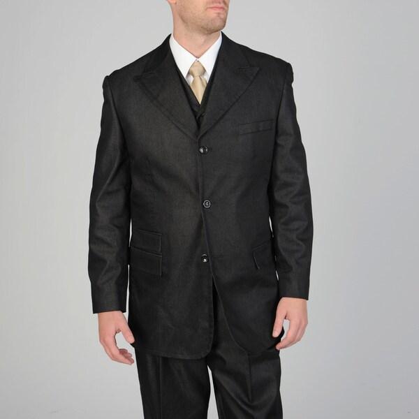 Caravelli Fusion Men's 3-piece Black Vested Suit