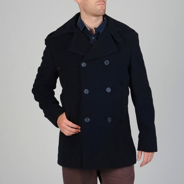 0db23d5abc Shop West End Men's Navy Double-breasted Wool Blend Peacoat - Free ...