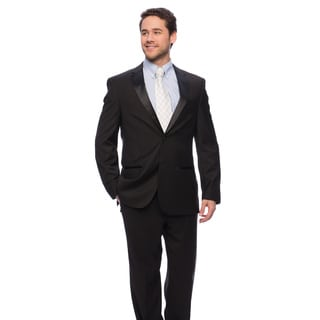 Caravelli Men's Black Satin-detailed Tuxedo (As Is Item)