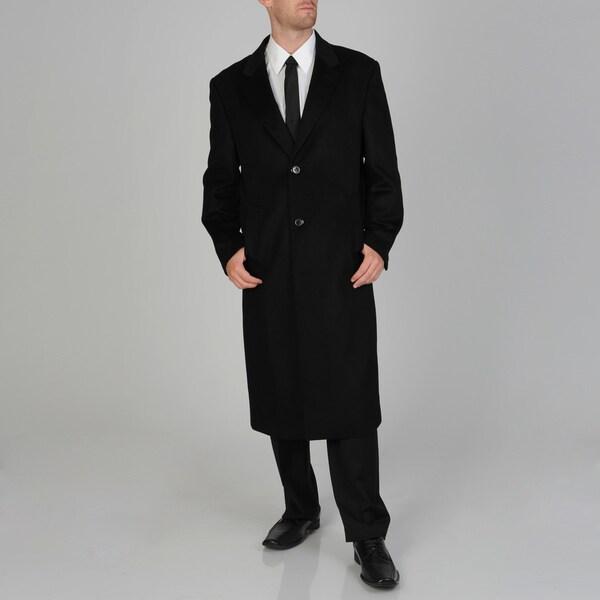 Pronto Moda Men's 'Harvard' Black Wool/Cashmere Blend Full-length Coat