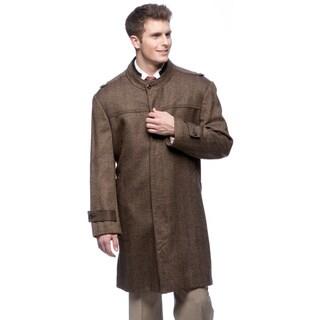 Pronto Moda Men's 'Rosa' Herringbone Wool/ Cashmere Blend Topcoat