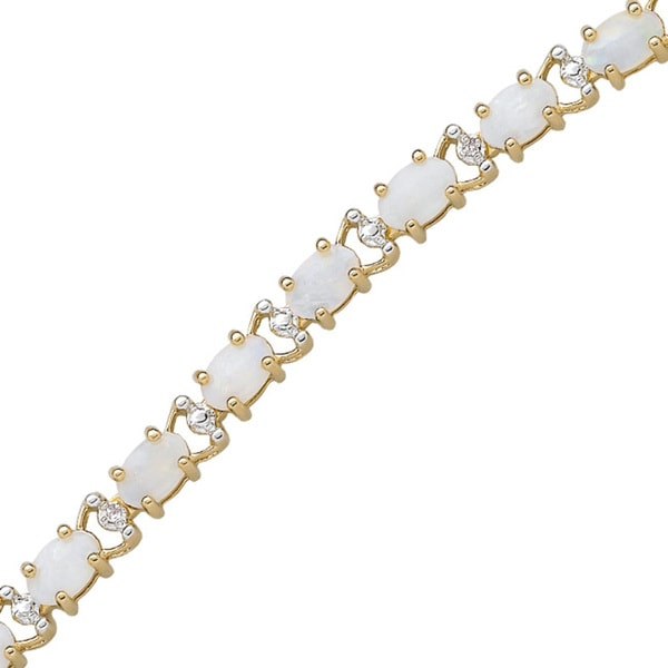 Gold Overlay Genuine Opal and Diamond Accent Tennis 7.25-inch Bracelet