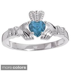 Sterling Silver Birthstone-colored Crystal Claddagh Ring|https://ak1.ostkcdn.com/images/products/7472204/Sterling-Silver-Birthstone-colored-Crystal-Claddagh-Ring-P14919430.jpg?impolicy=medium
