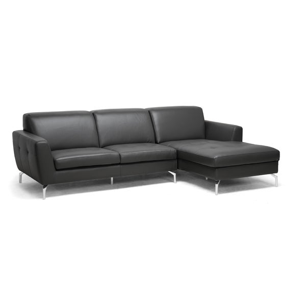Donovan Grey Leather Modern Sectional Sofa