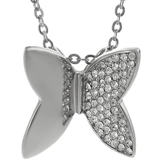 Journee Collection Steel CZ Mod Butterfly Necklace