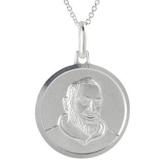 Journee Collection Silver Italian Holy St. Padre Pio Signet Disc Necklace