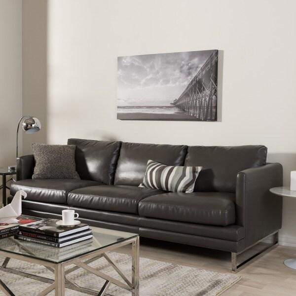 Sectional Sofa Grey Baxton Studio: Shop Baxton Studio Dakota Pewter Grey Leather Modern Sofa