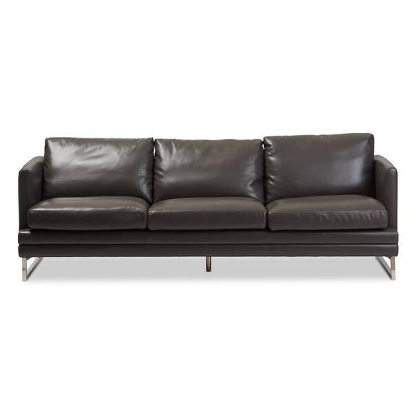 Astonishing Shop Baxton Studio Dakota Pewter Grey Leather Modern Sofa Creativecarmelina Interior Chair Design Creativecarmelinacom