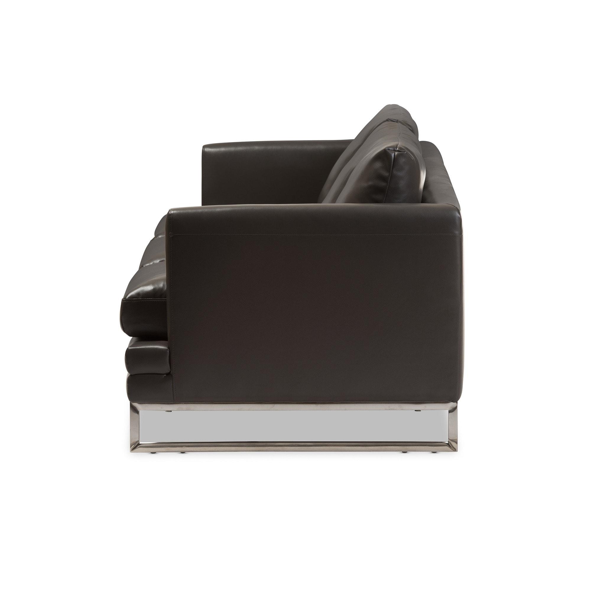 Super Baxton Studio Dakota Pewter Grey Leather Modern Sofa Creativecarmelina Interior Chair Design Creativecarmelinacom