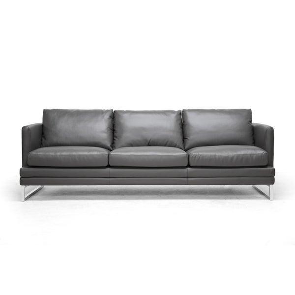 Sectional Sofa Grey Baxton Studio: Baxton Studio Dakota Pewter Grey Leather Modern Sofa