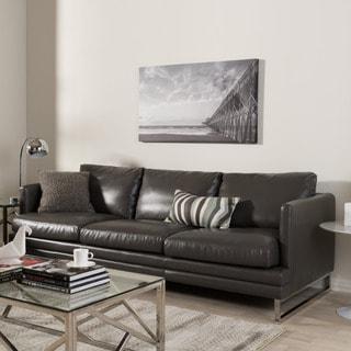 Baxton Studio Dakota Pewter Grey Leather Modern Sofa