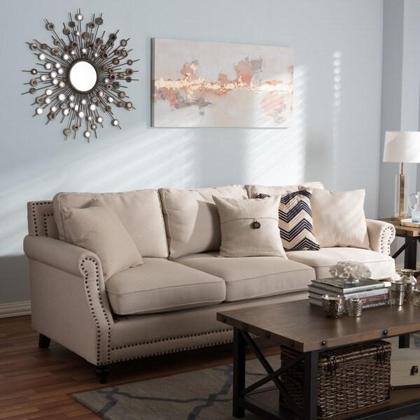 Shop Mckenna Beige Linen Modern Sofa Free Shipping Today