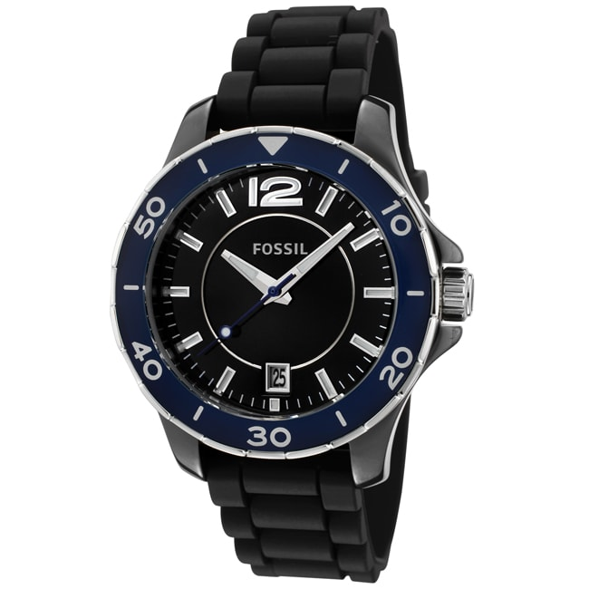 Fossil Unisex CE1036 Black Silicon Watch, Size One Size F...