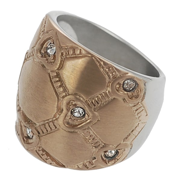 Journee Collection Two-tone Steel CZ Lattice Heart Ring