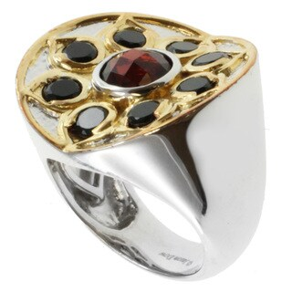 Michael Valitutti Jason Dow Two-tone Garnet and Black Spinel Ring